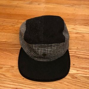 Black, grey, and white hipster hat